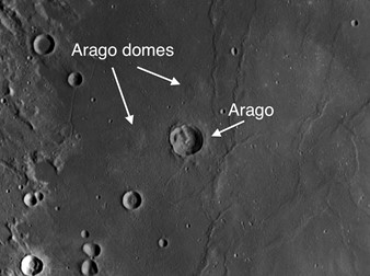 Unusual Moon Crater Arago and its Surrounding Domes