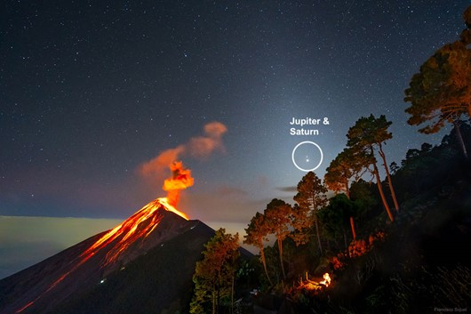 Jupiter and Saturn Conjuction from Guatamala over an exploding volcano