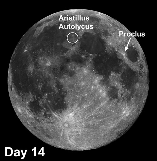 moon craters Aritillus and Proclus