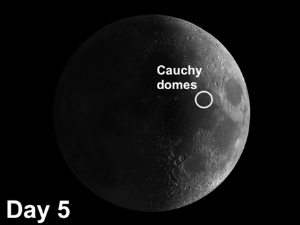 Cauchy Domes on the moon