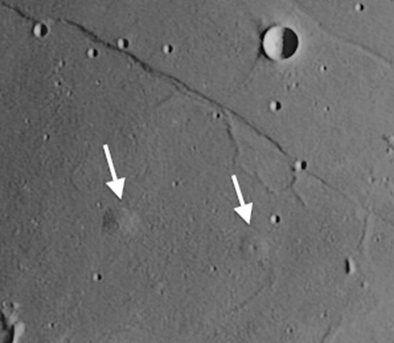 Cauchy domes can be seen on the moon just south of Rupes Cauchy.