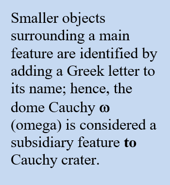 smaller objects surrounding a main feature are identifed by adding a Greek letter