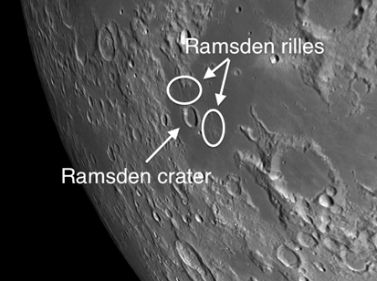 Rimae Ramsden, a network of rilles just east of the crater Ramsden
