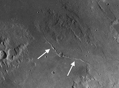 Ariadaeus and Hyginus rilles on the moon