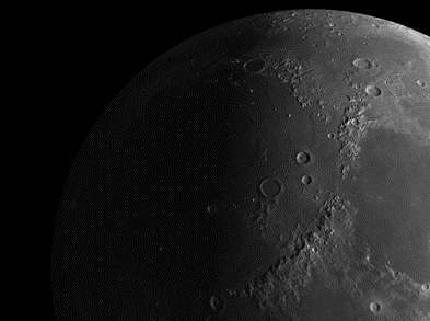 Imbrium Basin and Caucasus Mountains on the Moon