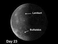 Moon Crater Bullialdus and Ghost Crater Lambert-R
