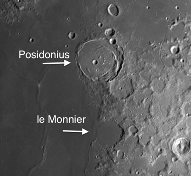 Moon Craters on Mare Serenitatis: Posidonius and le Monnier